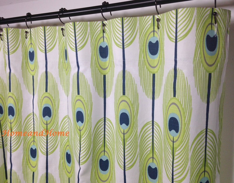 Custom Shower Curtain 72 X 96 Designer Fabric Feathers Slub