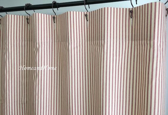 Ticking Stripe Shower Curtain Fabric Cranberry