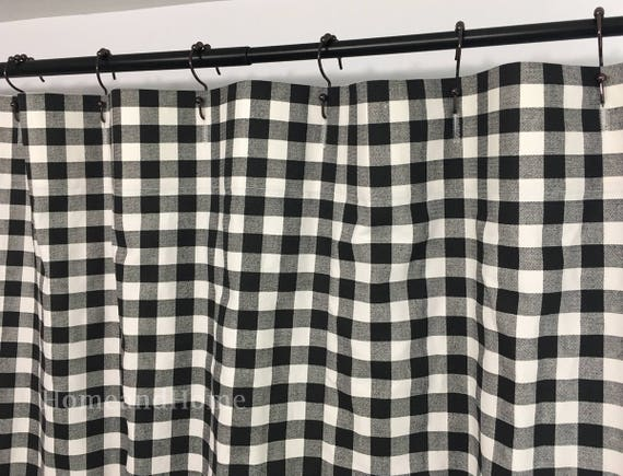 Custom Fabric Shower Curtain Plaid Black White Stall