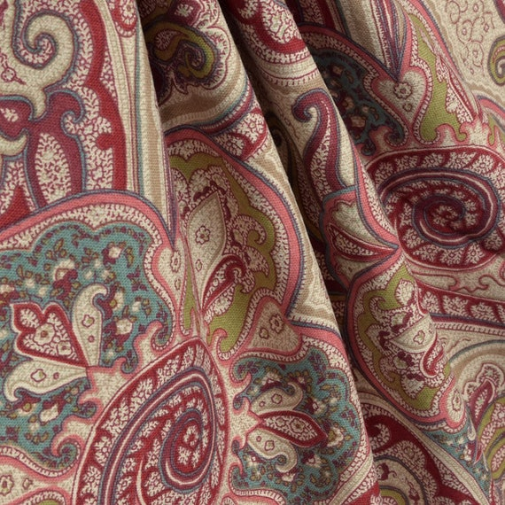 Paisley Shower Curtain Garnet Blush Pink Turquoise Brown 72 X