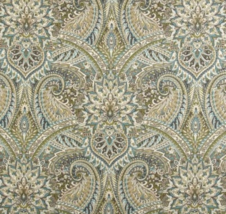 Paisley Shower Curtain Waverly Mineral Gray Blue 72 X