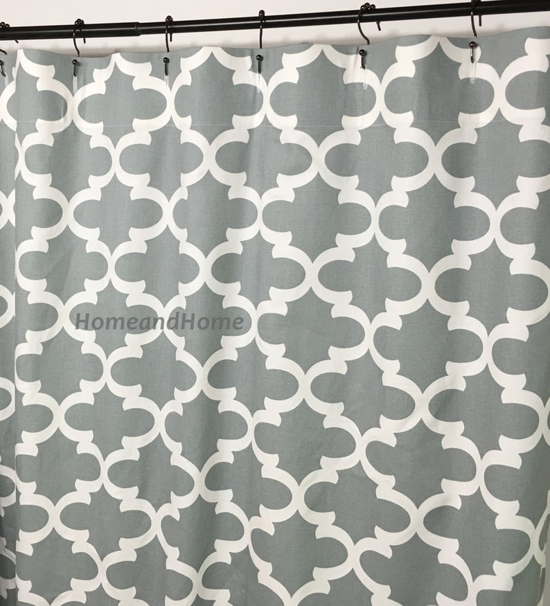 Gray Shower Curtain 72 X 84 108 Long Shower Curtain Extra Wide Etsy