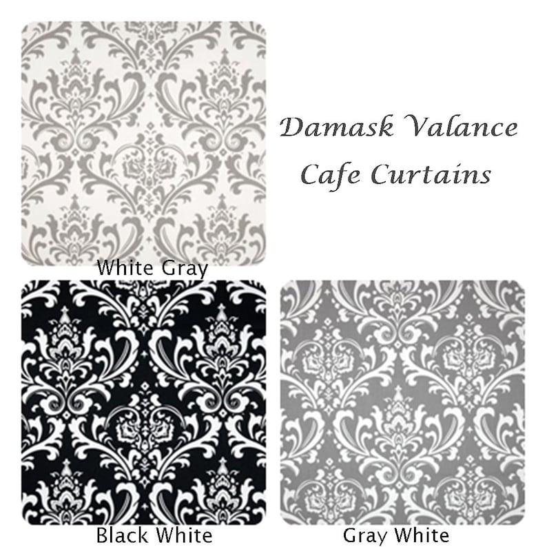 Damask Valances Damask Cafe curtains Curtain Valance Kitchen Curtains Bathroom valance Bathroom Curtains Kitchen Valance
