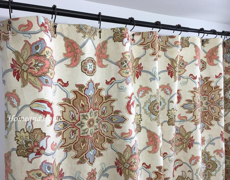 Custom Fabric Shower Curtain Brooklyn Caramel Light Blue Red