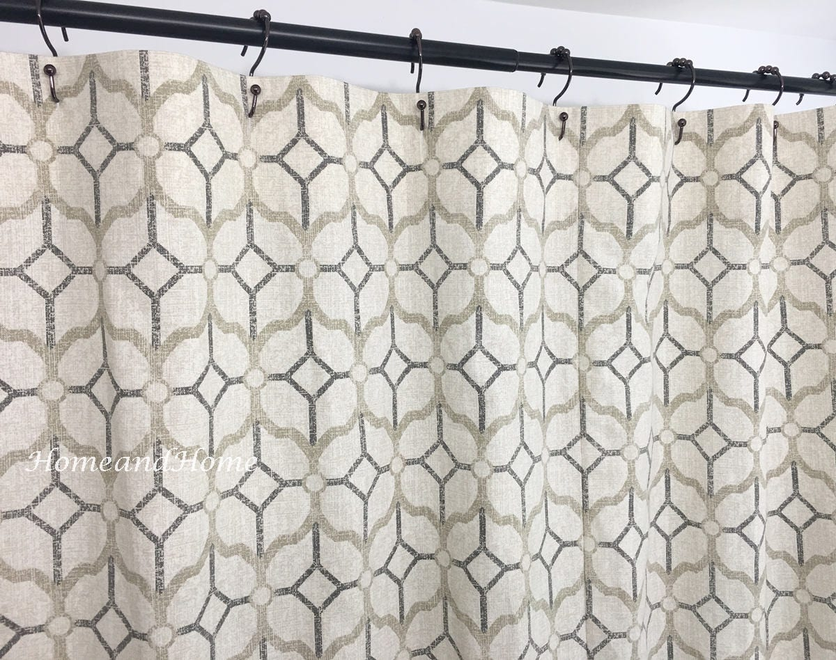 Gray Shower Curtain Pewter Grey Beige 72 X 84 108 Long Shower Etsy