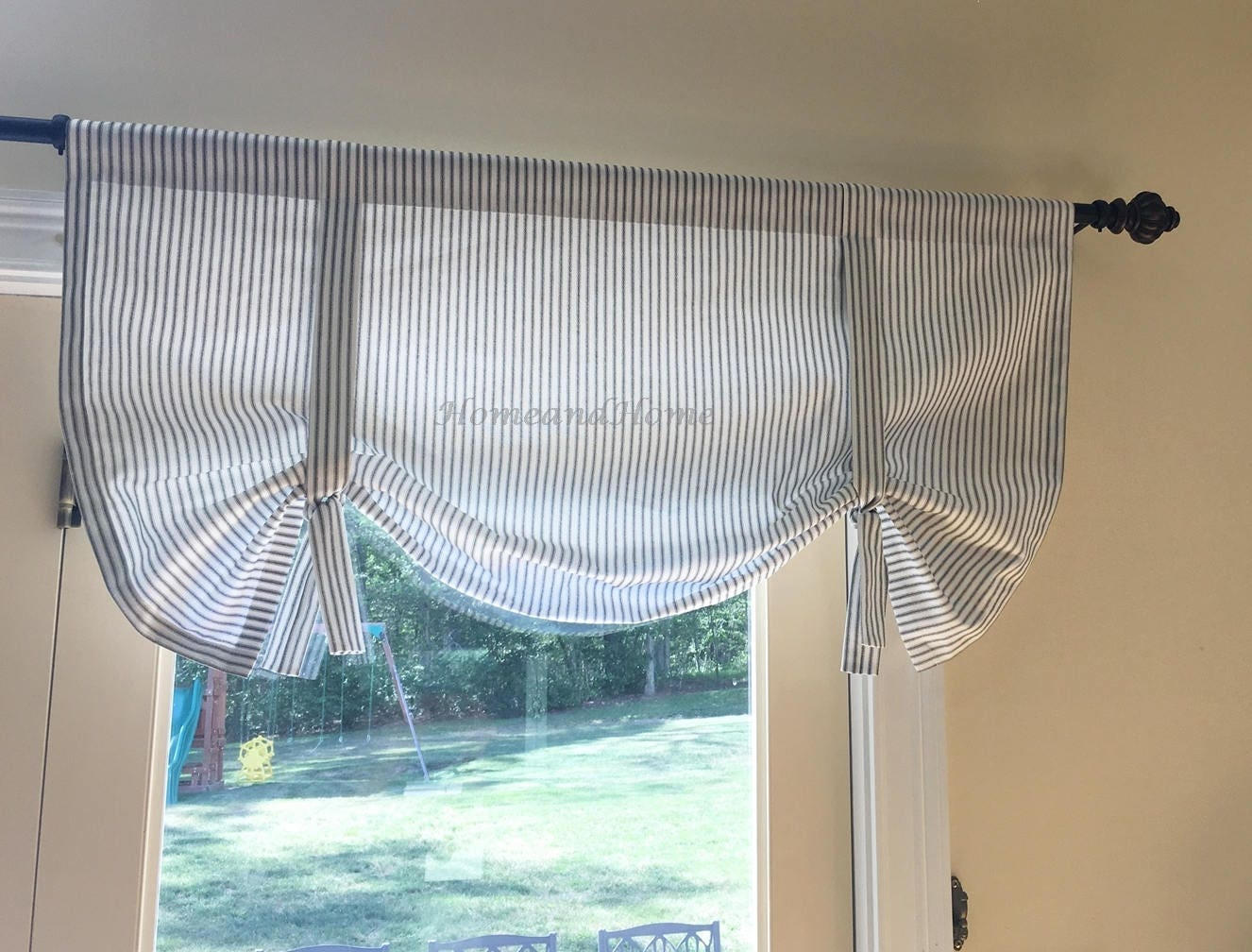 Tie Up Curtain Classic Ticking Stripe Black White Strip