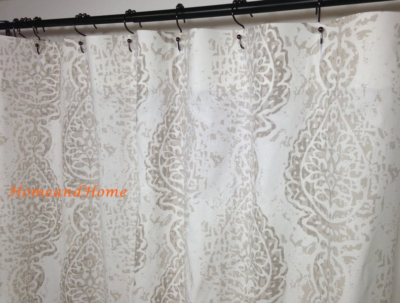 Shower Curtain Fabric Ecru White 72 X 84 96 108
