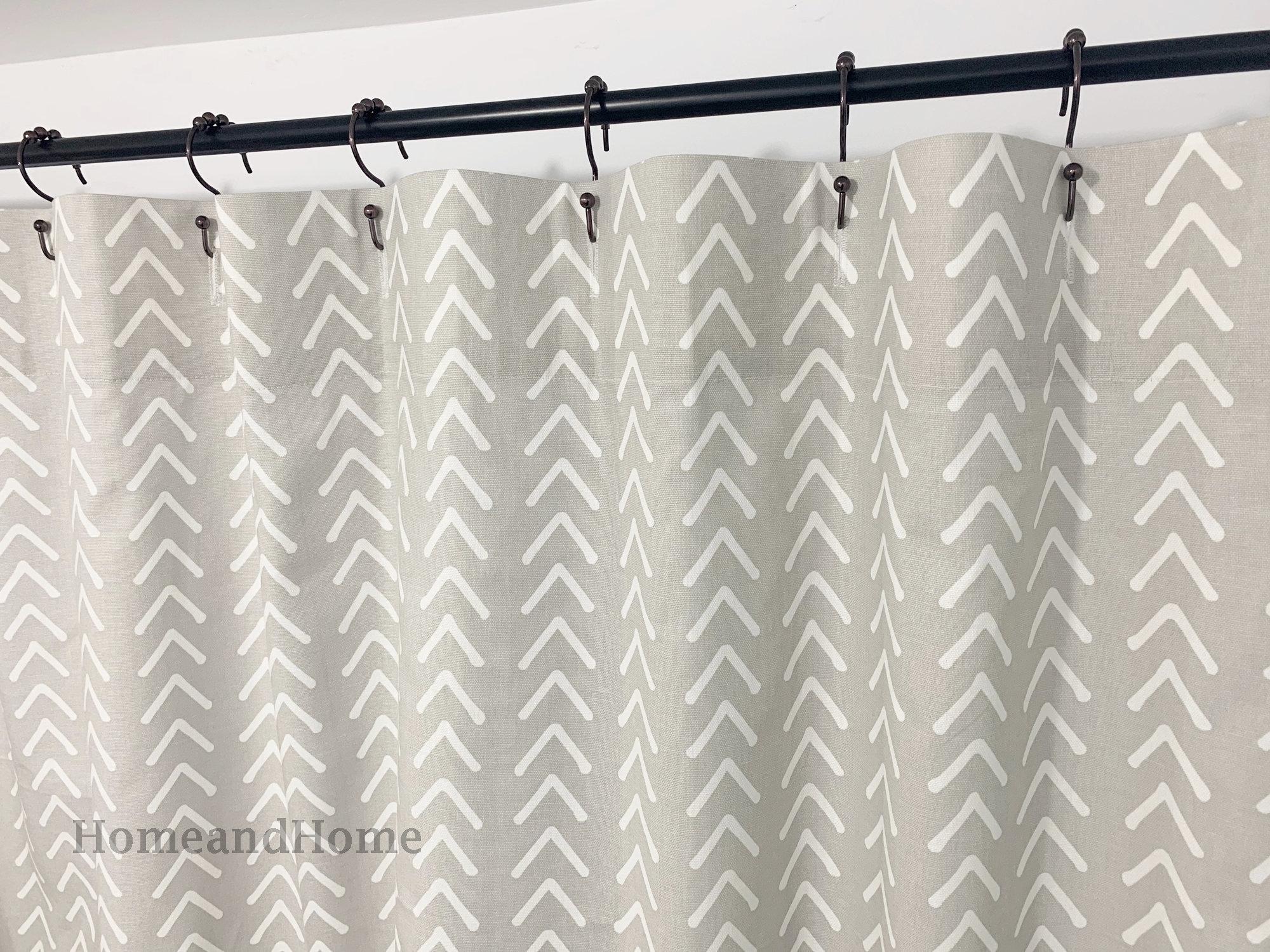 French Gray Shower Curtain Boho Gray White 72x 84 108 Fabric Shower Curtain Long Shower Curtain Extra Wide Shower Curtain 72 X 96 72 X84