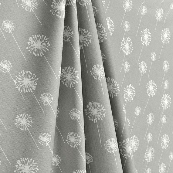 Custom Fabric Shower Curtain Small Dandelion Grey White Stall