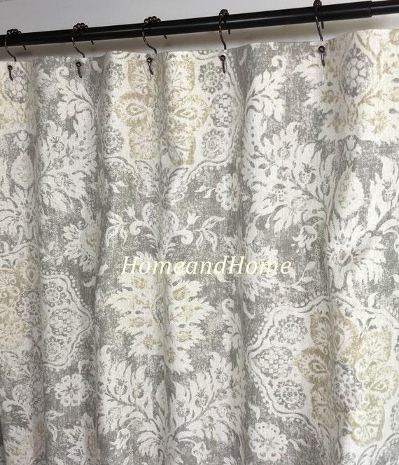 Shower Curtain Belmont Mist Beige Grey Cream 72 X84 108 Custom