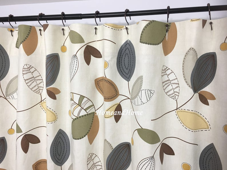 Shower Curtain Leaf Fabric 72 X 84 108 Extra Wide