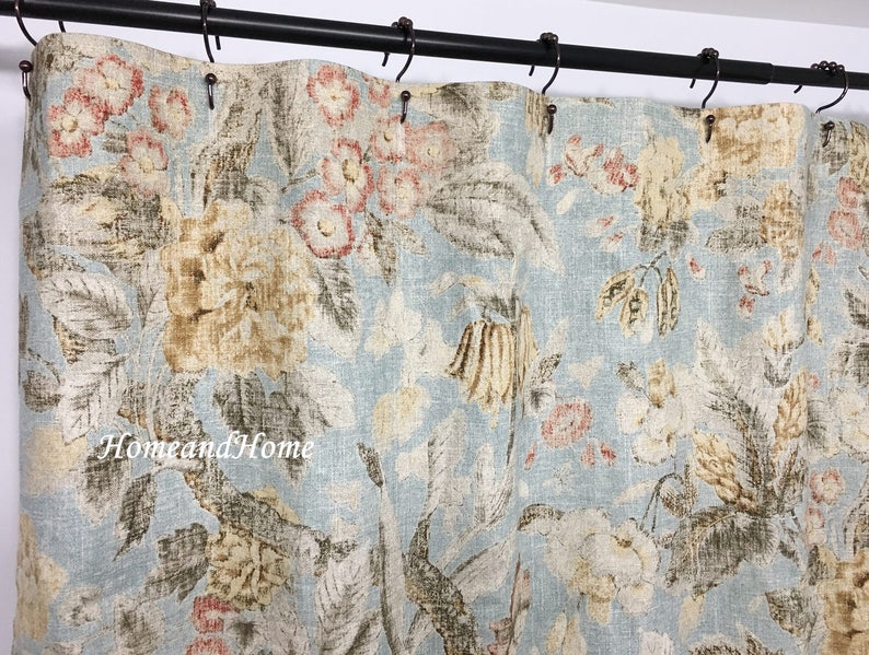 Shower Curtain Waverly Floral Linen Shower Curtain Fabric Shower Curtain 72 X 72 72 X 74