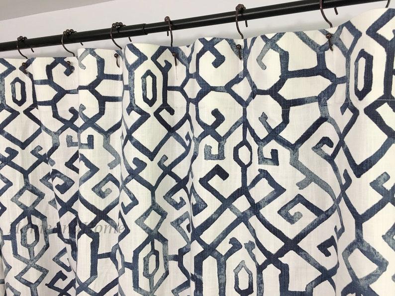 Blue Shower Curtain Custom Shower Curtain Slub Canvas 72 X 84 Etsy