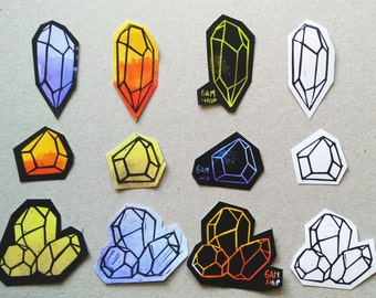 Magic Crystal sticker pack, original watercolor & linocut hand printed stickers, quartz crystal stickers, witchy stickers, sticker set