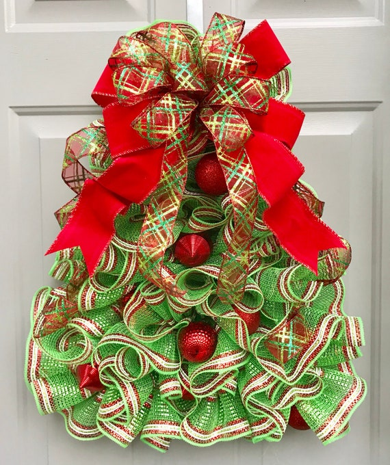 Christmas Tree With Mesh.Christmas Tree Deco Mesh Wreath Ornament Wreath