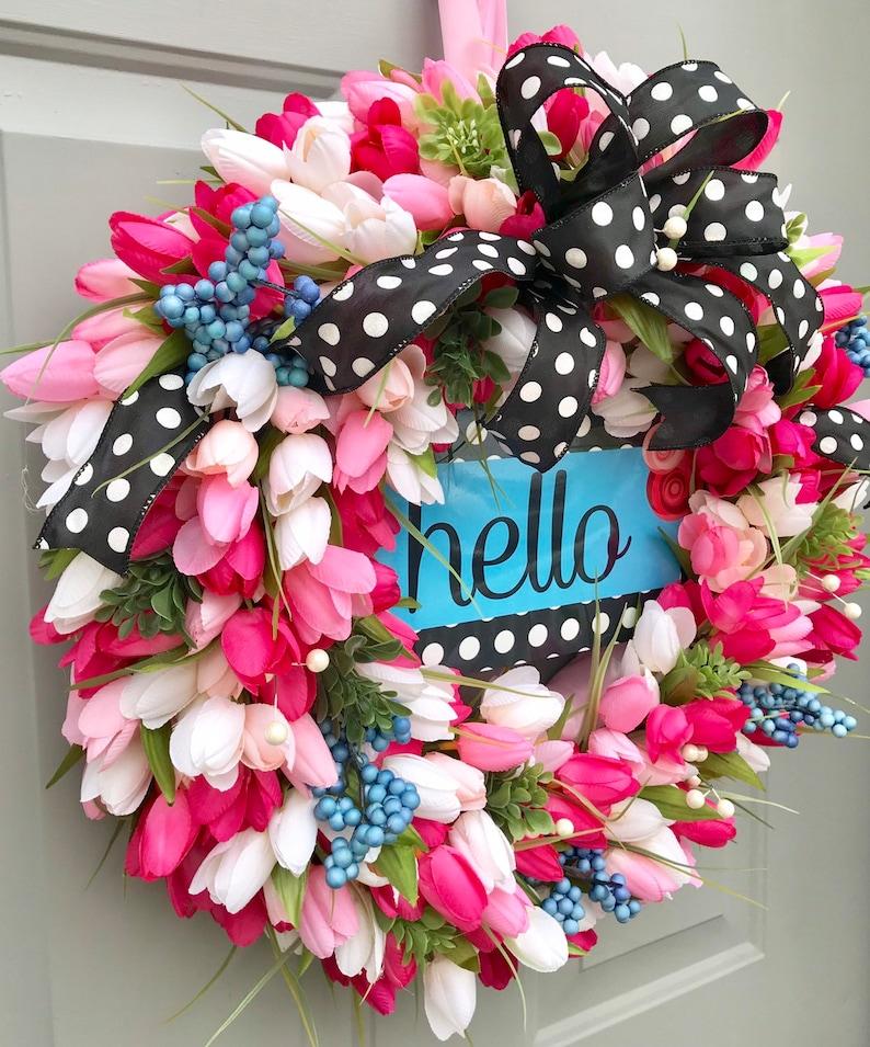 Summer Front Door Tulip Wreath Hello Everyday Wreath Welcome Wreath Spring Decor