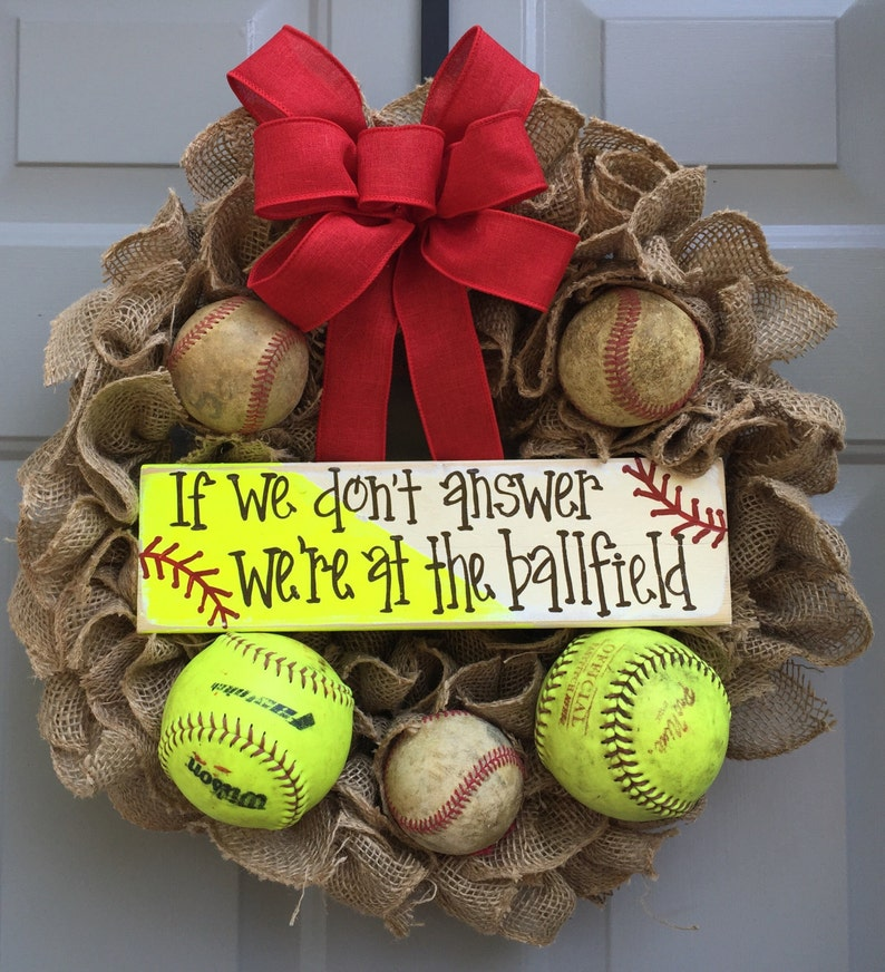 Baseball Softball Wreath If We Don T Answer We Re At Etsy