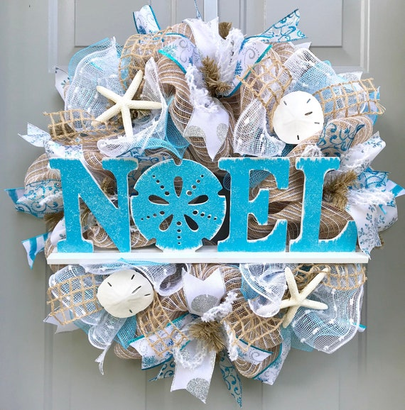Beach Christmas Wreath Noel Christmas Beach Wreath