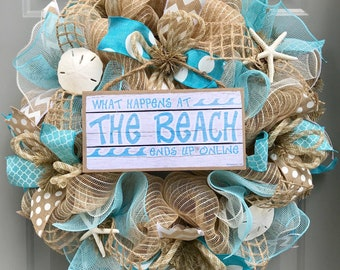 Beach Wreath, Burlap Deco Mesh Wreath with Seashells, Love Beach, Nautical Wreath, Seashell Wreath, What Happens At The Beach Ends Up Online