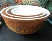 Vintage Set of Pyrex Mixing Bowls Set of Three Brown with Fruit on the Side Pyrex 401 402 403