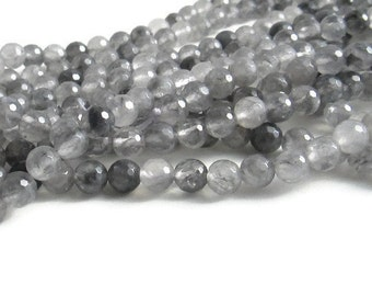 8 mm Faceted Quartz Beads, Natural Crystal Beads, Variegated Quartz , Gray Gemstone Beads, Faceted Crystal Beads