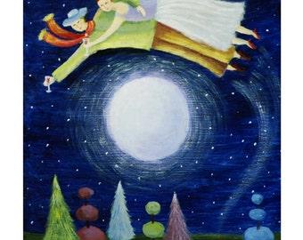 Over the Moon    -        Archival Fine Art Print - Gift,         Wall Decor, Home Decor, Housewares
