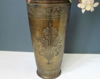 LARGE Lassi Cup Vintage Indian Brass Beaker Hand Engraved RUSTIC Metal Cup Boho VASE Asian Decor Artist's Brush Pot Ethnic Metal Storage Pot