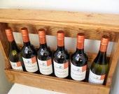 WINE BOTTLE HOLDER Rustic Wine Crate Worktop Storage/Floor Standing/Wall Mounted/Behind Door Reclaimed Wood Handmade Waxed Country Decor