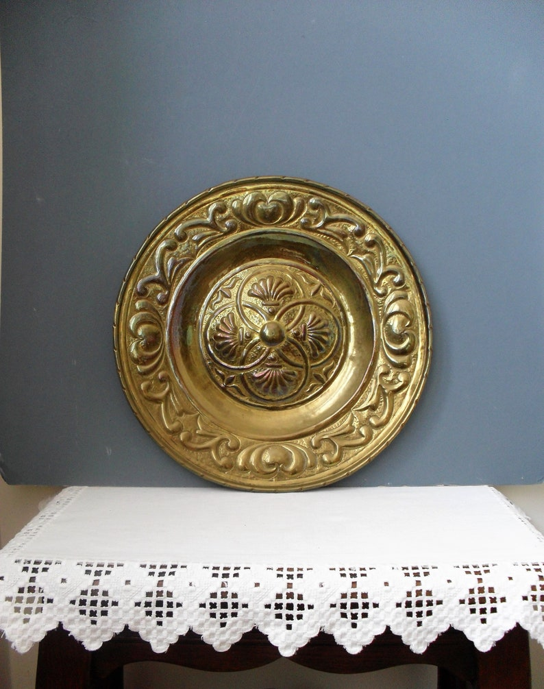 Retro Mid Century Brass Wall Plate Decorative Brass English Etsy