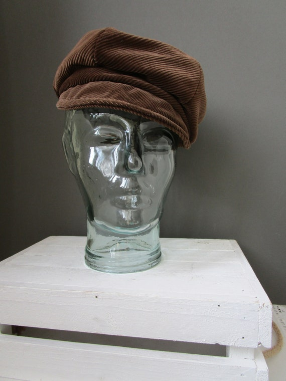 Vintage 'JACOLL HAT' Brown Corduroy Baker Boy Hat