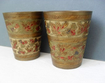 Lassi Cups Vintage Indian Brass Cups Engraved & Enamel Cups Vintage Metalware Aged BOHO Brass Decor Asian Decor Retro 70s Brass Collectibles