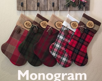 rustic christmas stocking set of 5 personalized wood slice name tag redwood cone rustic woodland christmas plaid flannel christmas stocking - Rustic Christmas Stocking