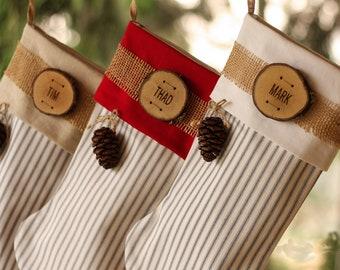 Personalized Christmas Stocking Farmhouse Christmas Stocking Personalized Wood Slice Name Tag Cone Ticking Rustic Christmas Stocking