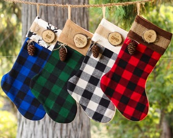 Personalized Christmas Stocking Family Christmas Stockings Buffalo Plaid Flannel Christmas Stocking Farmhouse Christmas Wood Slice Name