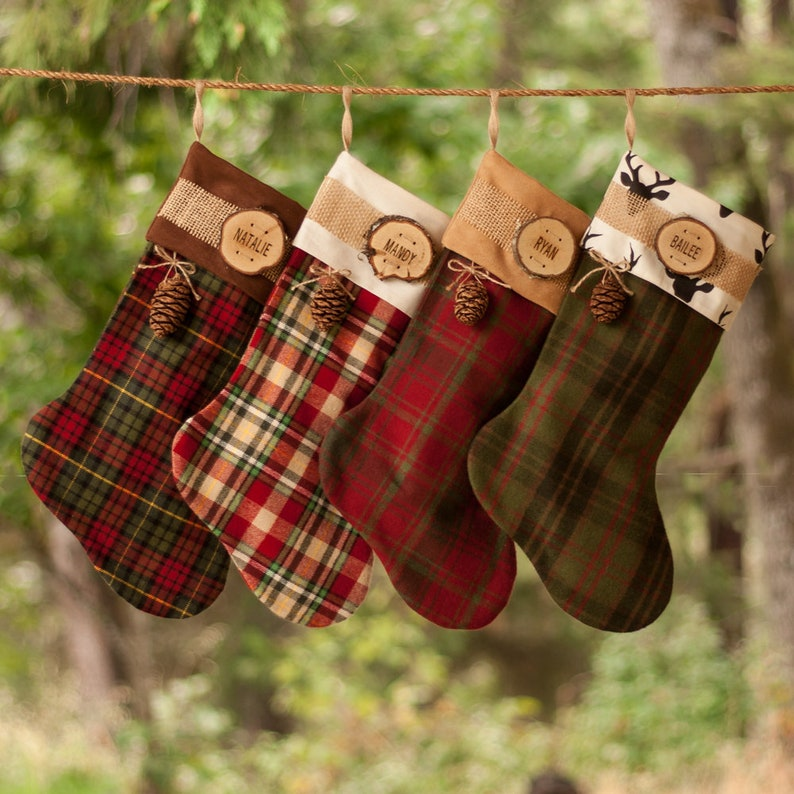 0e0a3175c22 Set of 4 Christmas Stockings Personalized Rustic Wood Slice