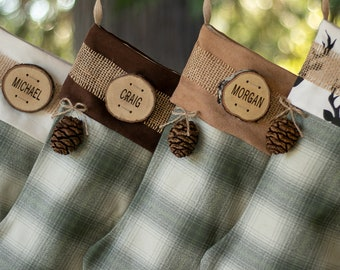 Plaid Christmas Stockings Personalized Country Christmas Wood Name Tag Woodland Christmas Rustic Christmas Plaid Flannel Christmas Stocking