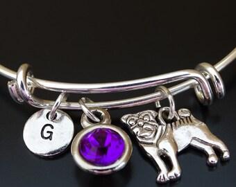 Pug Bangle Bracelet, Adjustable Expandable Bangle Bracelet, Pug Charm, Pug Pendant, Pug Jewelry, Pug Gift, Pug Lover Gift, Pug Life,Pug Mom,