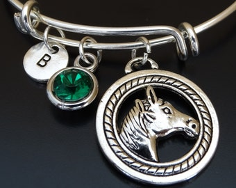 Horse Bangle Bracelet, Adjustable Expandable Bangle Bracelet, Horse Charm Bracelet, Horse Lover, Horse Jewelry, equestrian jewelry,