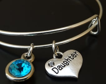 Daughter Bangle Bracelet, Adjustable Expandable Bangle Bracelet, Daughter Charm, Daughter Pendant, Daughter Jewelry, Daughter Gift Idea