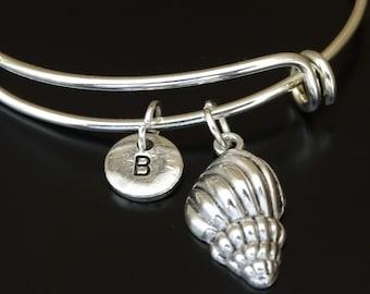 Sea Shell Bangle Bracelet, Adjustable Expandable Bangle Bracelet, Sea Shell Charm, Sea Shell Pendant, Sea Shell Jewelry, Seashell Bracelet