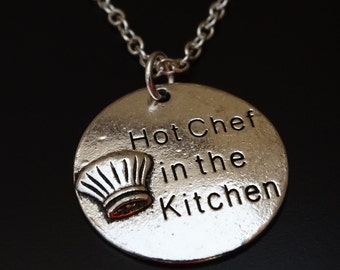 Hot Chef in the Kitchen Necklace, Chef Necklace, Chef Charm, Chef Pendant, Chef Jewelry, Chef Gift, Cook Gift, Cooking Necklace,Cooking Gift