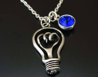 Light Bulb Necklace, Light Bulb Charm, Light Bulb Pendant, Light Bulb Jewelry, Science Necklace, Science Jewelry,Science Teacher,Electrician