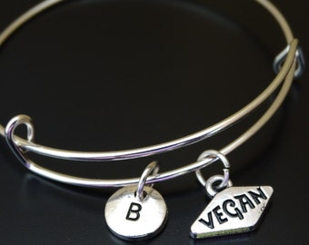 Vegan Bangle Bracelet, Adjustable Expandable Bangle Bracelet, Vegan Charm, Vegan Pendant, Vegan Jewelry, Vegetarian Bracelet,Vegetarian Gift