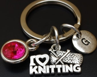 I Love Knitting Keychain, I Love Knitting Key Chain, I Love Knitting Charm, I Love Knitting Pendant, Knitting Gifts, Gifts for Knitters