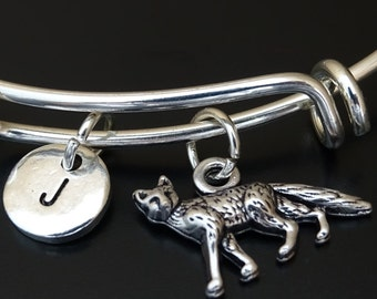 Fox Bangle Bracelet, Adjustable Expandable Bangle Bracelet, Fox Charm, Fox Pendant, Fox Jewelry, Fox Gift, Fox Girl, Wood Animal Bracelet