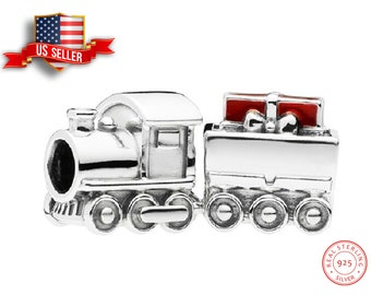 Locomotive 3D Sterling Silver Dangle Charm Carrier Bead Steam Train