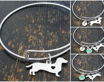 Dachshund Birthstone Dog Jewelry Dachshund Jewelry Dog Bracelet Dachshund Bracelet- choose a birthstone Dachshund Charm Dachshund Gift