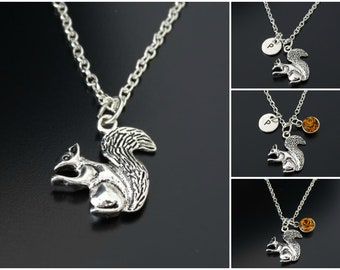 fishhook Animal Necklace Dainty Necklace Cute Squirrel Charm Pendant Necklace for Women Girls Teens