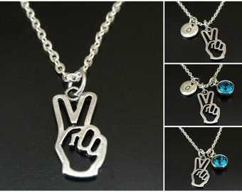 Personalized Birthstone and Initial Victory Sign Necklace  Keychain Hand Peace Sign Charm Jewelry Silver Sign Language Necklace