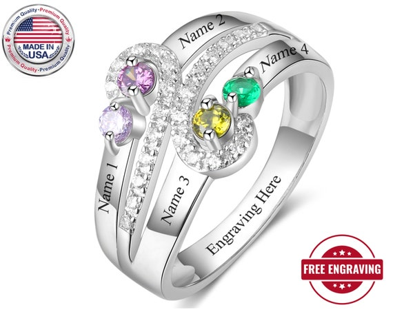 Mothers Ring 4 Birthstone Family Ring 4 Stone Mom Ring Mothers Birthstone Ring Four Stone Mothers Ring 4 Stone 4 Name Engraved